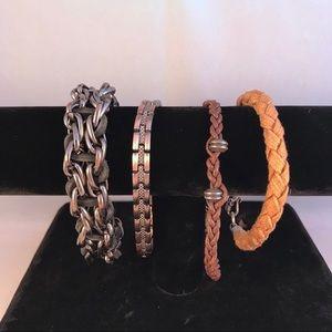 4 Rugged Handsome Men's Bracelets Leather Silver
